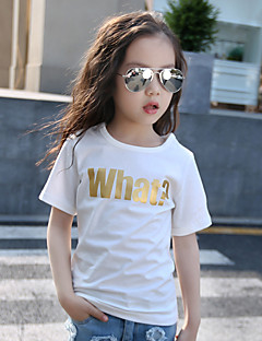 Girls' Casual/Daily Solid Tee,Cotton Summer Short Sleeve
