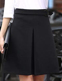 נשים מידות גדולות גזרת A אחיד שכבות חצאיות,סקסית חמוד ליציאה יום יומי\קז'ואל עבודה,באורך ברך גיזרה גבוהה רוכסן Polyesteri מיקרו גמישות