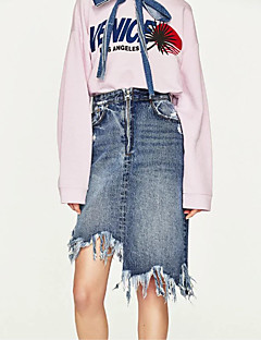 レディース キュート ストリートファッション ミッドライズ Aライン ボディコン 膝上 スカート デニム ゼブラプリント