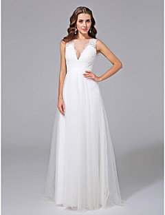 A-line Wedding Dress - Glamorous & Dramatic See-Through Sweep / Brush Train V-neck Lace Tulle with Button Lace