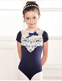 Danse classique justaucorps Enfant Entraînement Coton Dentelle 1 Pièce Manche courte Taille basse Collant