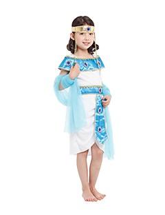 Cosplay Kostumer Egyptiske costumer Festival/Højtider Halloween Kostumer Hvid Ensfarvet Kjole Mere Tilbehør HovedtøjHalloween Karneval