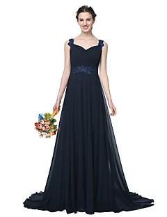 Lanting Bride® Hasta el Suelo Raso Elegante Vestido de Dama de Honor - Corte en A Tirantes con Apliques Cuentas Plisado