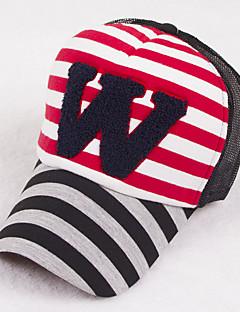 Unisex Cotton Spring And Summer Striped W Alphabet Prints Baseball Cap