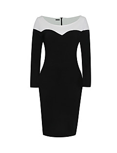 Women's Plus Size Party Vintage Bodycon Dress,Color Block Round Neck Knee-length Long Sleeve Black Cotton Polyester SummerHigh