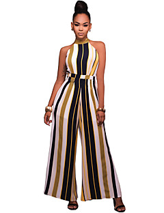 Wide Leg Jumpsuits,Going out Casual/Daily Club Sexy Simple Street chic Striped Crew Neck Sleeveless Mid Rise Polyester StretchyAll