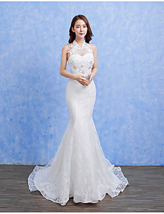 Trumpet / Mermaid Wedding Dress - Chic & Modern Simply Sublime Sweep / Brush Train Halter Lace Satin Tulle with Beading Lace
