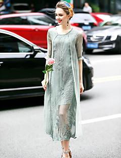 אביב קיץ משי כחול ירוק אורך חצי שרוול מידי צווארון עגול אחיד רקמה חמוד ליציאה שמלה ישרה נשים,גיזרה בינונית (אמצע) מיקרו-אלסטיבינוני