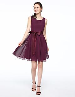 A-Line Scoop Neck Short / Mini Chiffon Satin Bridesmaid Dress with Bow(s) Sash / Ribbon Pleats by LAN TING BRIDE®