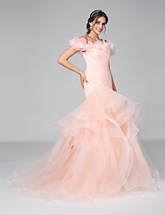 Lanting Bride® Leger & Aufgebauscht Hochzeitskleid - Glamurös & Dramatisch Rückenfrei Hof Schleppe Schulterfrei Tüll mitBlume /