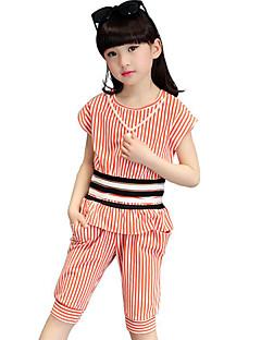 女の子 カジュアル/普段着 ビーチ ホリデー ストライプ プリント コットン セット 夏 半袖 アンサンブル