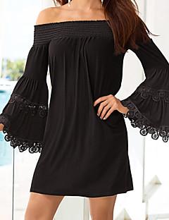 Dames Casual/Dagelijks Street chic Schede Chiffon Jurk Effen-Boothals Mini Lange mouw Zwart Polyester Zomer Medium taille Micro-elastisch
