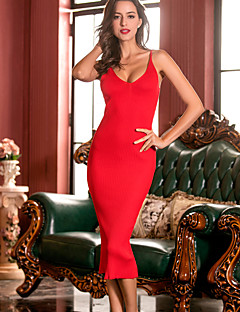 Women's Going out Party/Cocktail Club Sexy Sheath Sweater Dress,Solid Split Strap Midi Sleeveless Others Blue Red Black Brown All Seasons