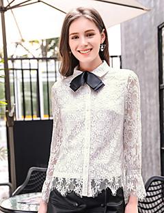 Bomull Nylon Hvit Langermet,Skjortekrage Skjorte Lapper Vår Sommer Søt Ut på byen