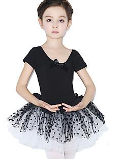 Danse classique Robes Enfant Entraînement Coton Dentelle Pois 1 Pièce Manche courte Taille moyenne Collant