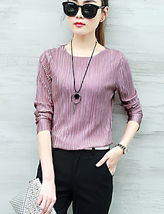 여성 솔리드 라운드 넥 긴 소매 티셔츠,심플 스트리트 쉬크 캐쥬얼/데일리 레이온 폴리에스테르 사계절 얇음