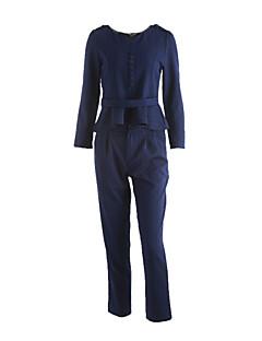 女性 お出かけ 秋 セット パンツ スーツ,ストリートファッション ラウンドネック ストライプ ブルー / ブラウン ポリエステル 長袖 ミディアム