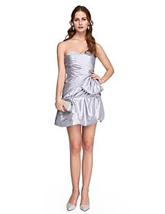 プリーツとaラインの恋人ショート/ミニストレッチサテンのカクテルパーティー帰郷のウエディングドレス