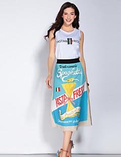Damen Buchstabe Einfach Lässig/Alltäglich Shirt Rock Anzüge,Rundhalsausschnitt Riemengurte Ärmellos Polyester