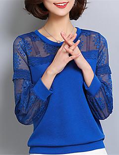 Langærmet Rund hals Medium Damer Blå Rosa Sort Ensfarvet Forår Gade I-byen-tøj Afslappet/Hverdag Arbejde T-shirt,Polyester