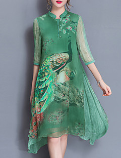 Women's Plus Size Going out Sophisticated Loose Dress,Print Stand Knee-length ½ Length Sleeve Silk Polyester Green Purple Spring Summer
