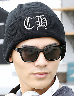 Unisex Knitwear Newsboy Letter Silver Thread Embroidery Ski Wool Hat
