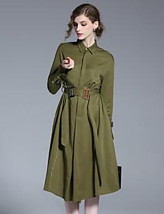 Damer Simpel I-byen-tøj A-linje Kjole Ensfarvet,Hakrevers Midi Langærmet Grøn Bomuld Forår Sommer Alm. taljede Uelastisk Medium