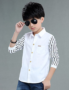 Casual/Daily Striped Shirt,Cotton Spring Long Sleeve Regular