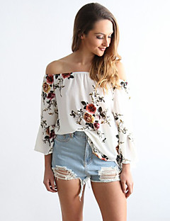 Women's Going out Casual/Daily Vintage Cute Spring Summer T-shirt,Floral Boat Neck Long Sleeve White Cotton Thin