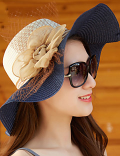 Women Summer Peony Flower Mesh Two - color Wide Brim Hat Wavy Pattern Shade Beach Straw