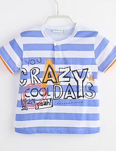 bebê Camiseta-Casual Listrado-Algodão-Verão-