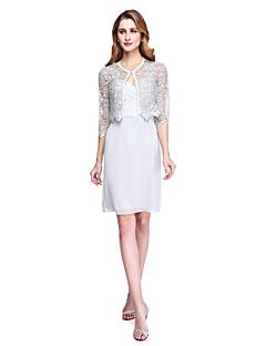 Szűk szabású Ékszer Térdig érő Sifon Csipke Örömanya ruha - Csipke Cakkos Rakott által LAN TING BRIDE®
