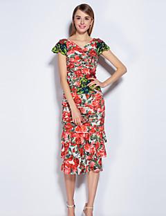 Damer Sødt I-byen-tøj Skede Kjole Blomstret,V-hals Midi Kortærmet Rød Polyester Spandex Forår Sommer Alm. taljede Mikroelastisk Medium