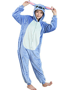 Kigurumi Pajamas Cartoon Leotard/Onesie Festival/Holiday Animal Sleepwear Halloween Blue Patchwork FlannelCosplay Costumes Kigurumi