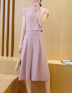 Women's Wide Leg Going out Casual/Daily Work Sexy Street chic Sophisticated Spring Summer Blouse Pant Suits,Solid Round Neck Short Sleeve Others