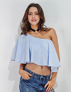 Women's Off The Shoulder Going out Casual/Daily Street chic Summer Shirt,Solid One Shoulder Sleeveless Cotton Medium