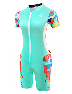 MALCIKLO® Macacão para Triathlon Mulheres Manga Curta MotoRespirável Design Anatômico Fecho YKK Compressão Tapete 4D Tiras Refletoras