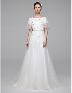 LAN TING BRIDE A-line Wedding Dress Simply Sublime Sweep / Brush Train Jewel Lace with Beading Sash / Ribbon