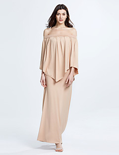 Women's Plus Size / Casual/Daily Solid / Simple Sheath DressSolid Pleated Cloak Sexy Boat Neck Maxi Long Sleeve