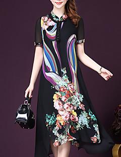 Γυναικείο Εξόδου Μεγάλα Μεγέθη Εκλεπτυσμένο Φαρδιά Σιφόν Swing Φόρεμα,Στάμπα Κοντομάνικο Όρθιος Γιακάς Μίντι Πολυεστέρας Καλοκαίρι