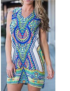 2016 New Hot V-neck geometry totem digital printing side split dress