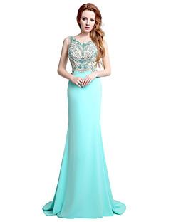 Formal Evening Dress Trumpet / Mermaid Jewel Sweep / Brush Train Jersey with Beading