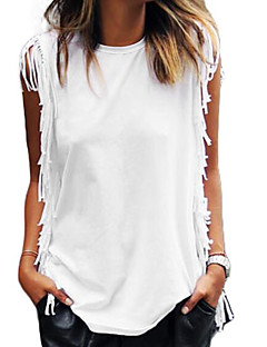 Women's Tassel Going out Beach Holiday Vintage Simple Street chic Summer T-shirt,Solid Round Neck Sleeveless Cotton Thin