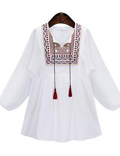 Majica Ženske,Jednostavno Ležerno/za svaki dan Plaža Vjenčanje Vez-Dugih rukava Okrugli izrez-Proljeće Ljeto Srednje Pamuk