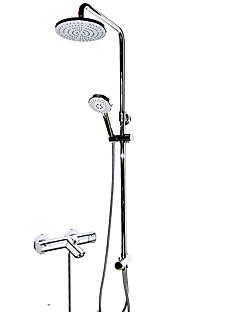 現代風 バスタブとシャワー サーモスタットタイプ レインシャワー ハンドシャワーは含まれている with  真鍮バルブ 3つのハンドル二つの穴 for  クロム , シャワー水栓