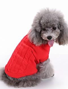 חתולים כלבים סוודרים בגדים לכלבים חורף אחיד חמוד אופנתי חג מולד לשנה החדשה אדום ירוק כחול ורוד כחול בהיר