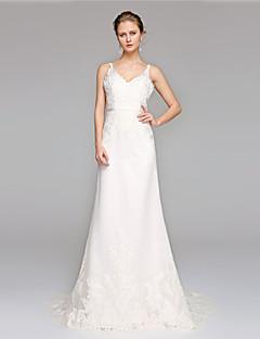 LAN TING BRIDE A-라인 웨딩 드레스 오픈백 스윕 / 브러쉬 트레인 V-넥 레이스 와 아플리케 허리끈 / 리본