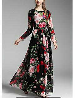 Rose print long-sleeved dress autumn ladies dress put on a large distribution Scarf