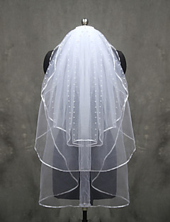 Wedding Veil Three-tier Elbow Veils Fingertip Veils Ribbon Edge Tulle