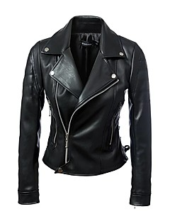 Casual/hétköznapi Punk & Gótikus V-alakú-Női Kožnate jakne,Egyszínű Tavaszi Ősz Hosszú ujj Rövid Poliuretán